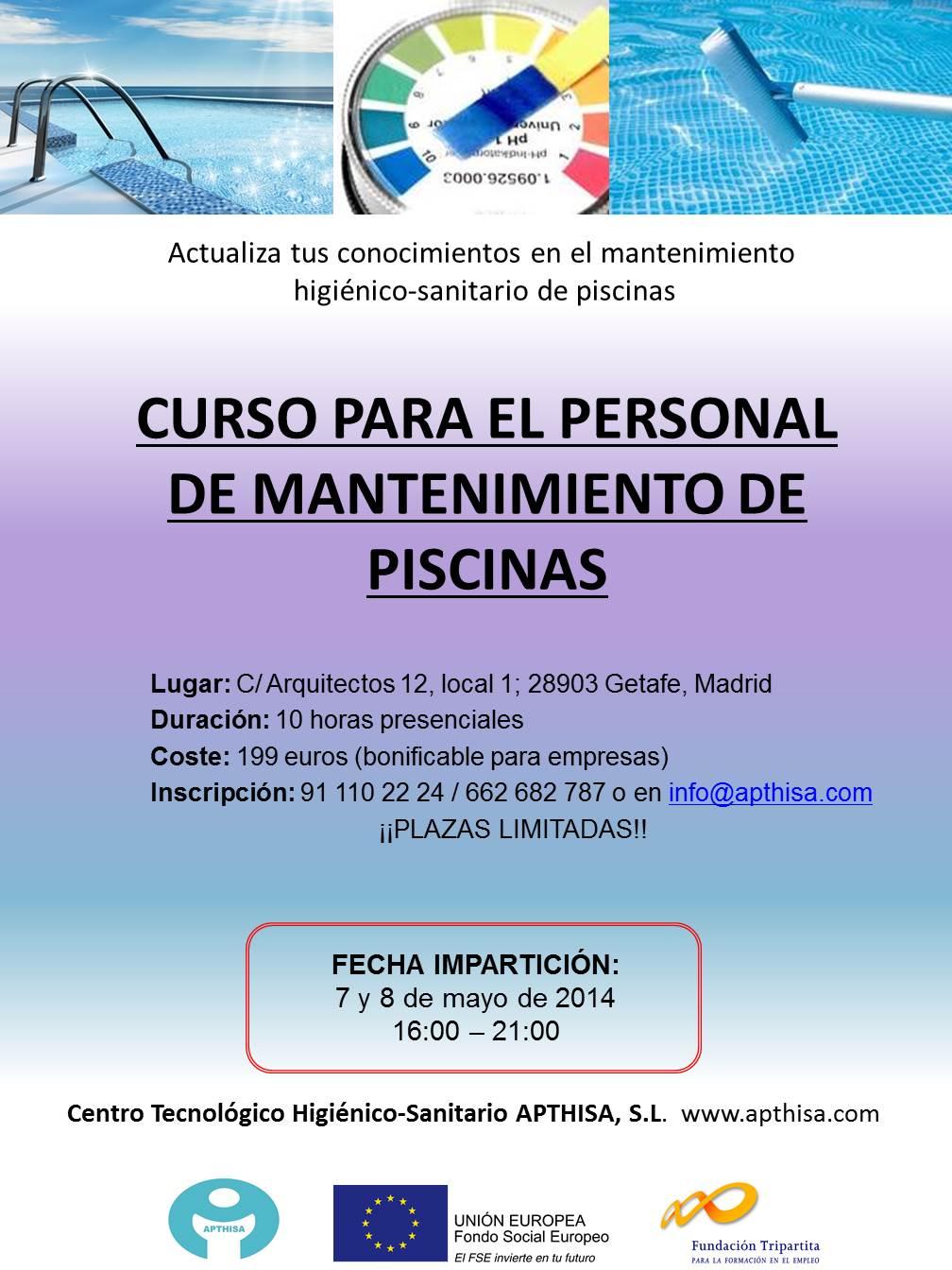 Instalaciones archivos apthisa for Curso mantenimiento piscinas